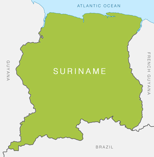 republic of suriname the smallest independent Suriname is the smallest independent country in south america situated on the guiana shield, it lies mostly between latitudes 1° and 6°n, and longitudes 54° and 58°w the country can be divided into two main geographic regions.